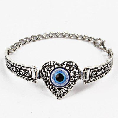 Vintage Devil Eye Engraved Heart Bracelet