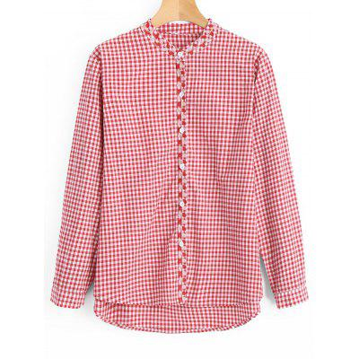 Checked High Low Button Down Shirt