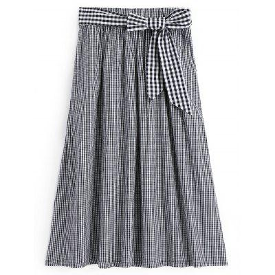Buy CHECKED M Bowknot Checked A Line Maxi Skirt for $26.62 in GearBest store