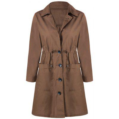 Plus Size Front Pocket Drawstring Single-breasted Coat