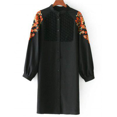 Lace Panel Floral Patched Buttoned Blouse