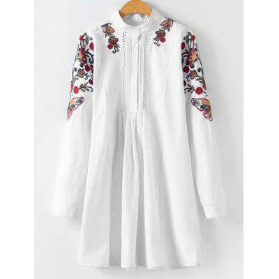 Floral Patchwork Hollow Out Pleated Blouse