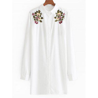 Buy WHITE M Button Up Floral Embroidered Longline Shirt for $29.40 in GearBest store