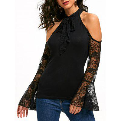Lace Flare Sleeve Bowknot Open Shoulder Top