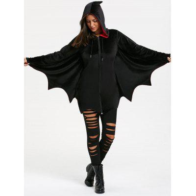 Bat Wing Wave Schnitt Halloween Zip Up Hoodie