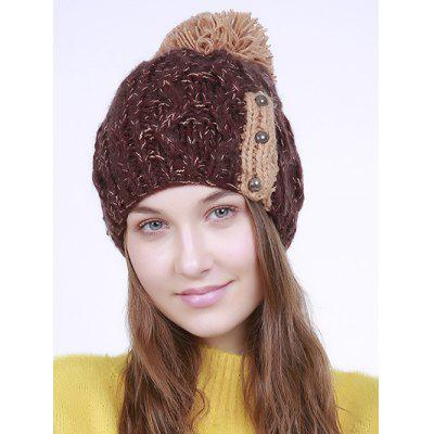 Three Beaded Button Decorated Knit Pom Hat