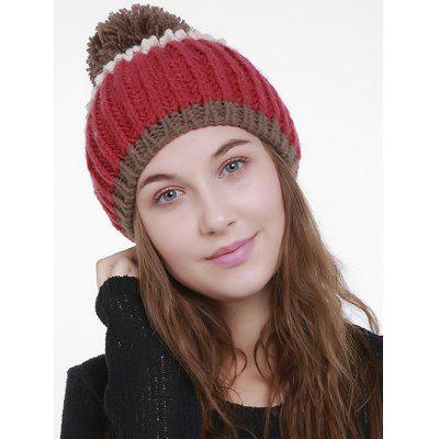Buy Outdoor Color Block Pom Pom Knitting Beanie RED for $7.46 in GearBest store