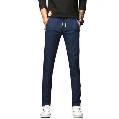 Cordão Zip Up Pockets Straight Leg Polyester Pants