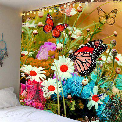 Flowers Butterfly Pattern Waterproof Wall Hanging Tapestry