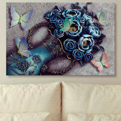Buy Vintage Flower Vase Butterfly Print Wall Art Canvas Painting, COLORMIX, Home & Garden, Home Decors, Wall Art, Prints for $18.18 in GearBest store