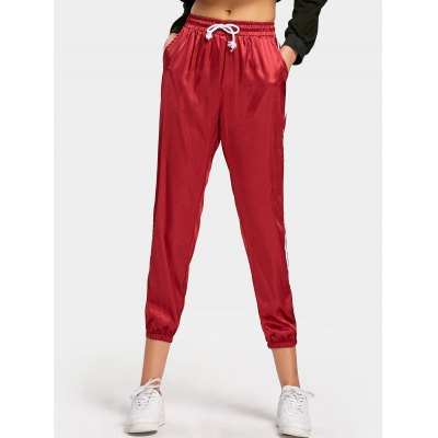 Satin Ribbons Trim Drawstring Pants