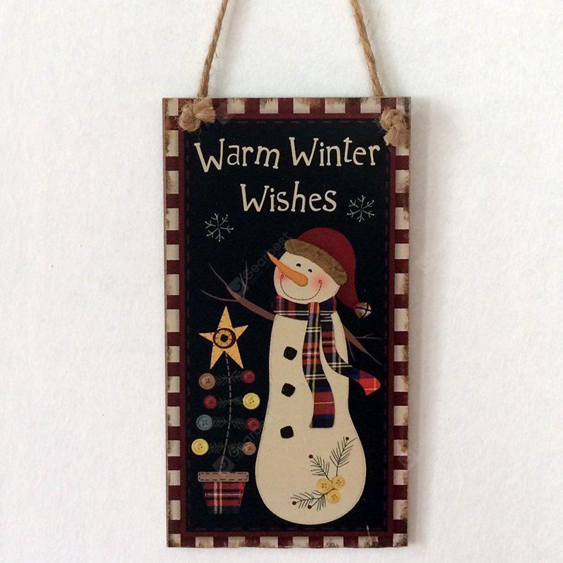 Christmas Snowman Pattern Door Wooden Hanging Sign