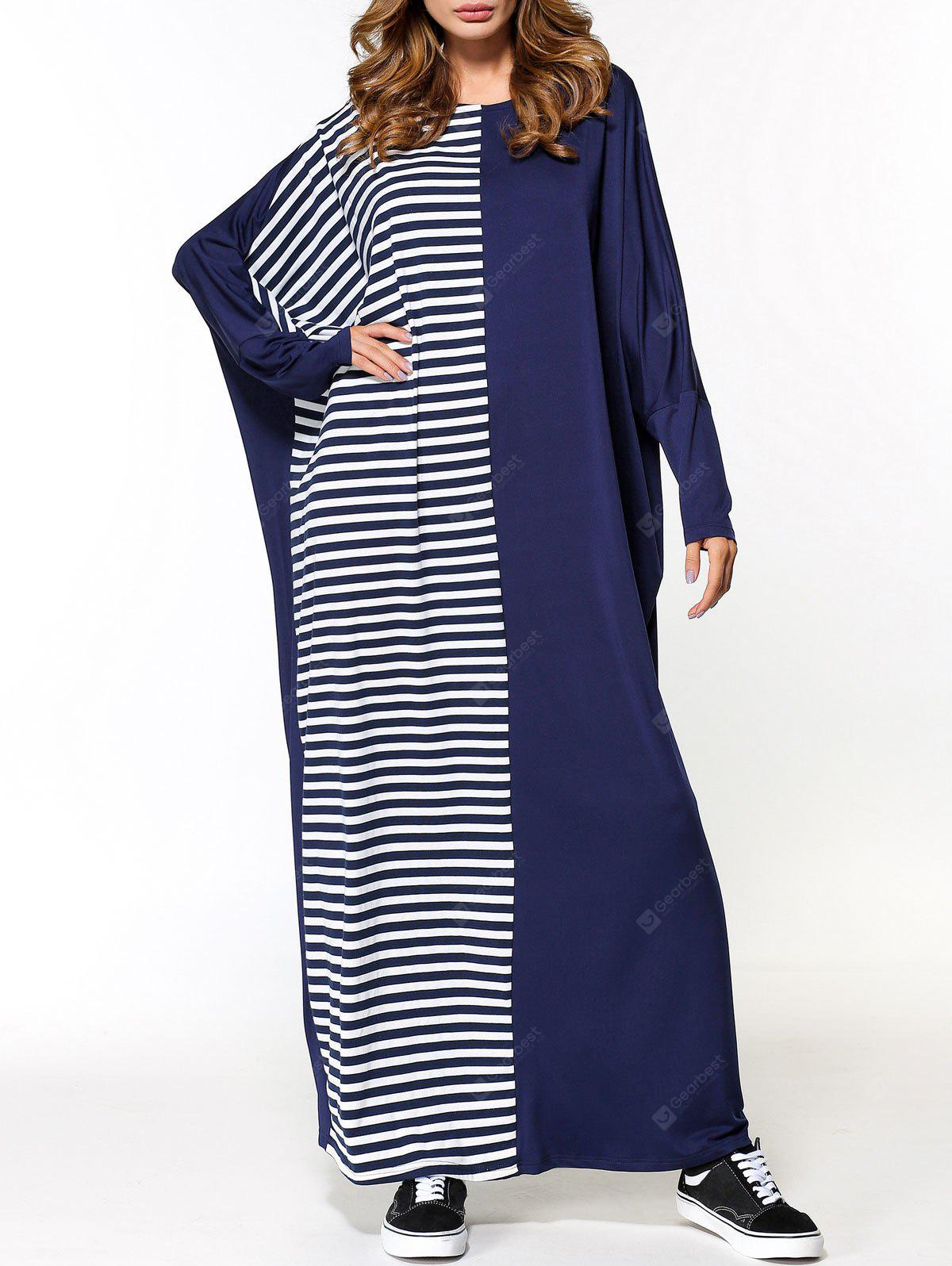 Oversized Striped Panel Maxi Dress