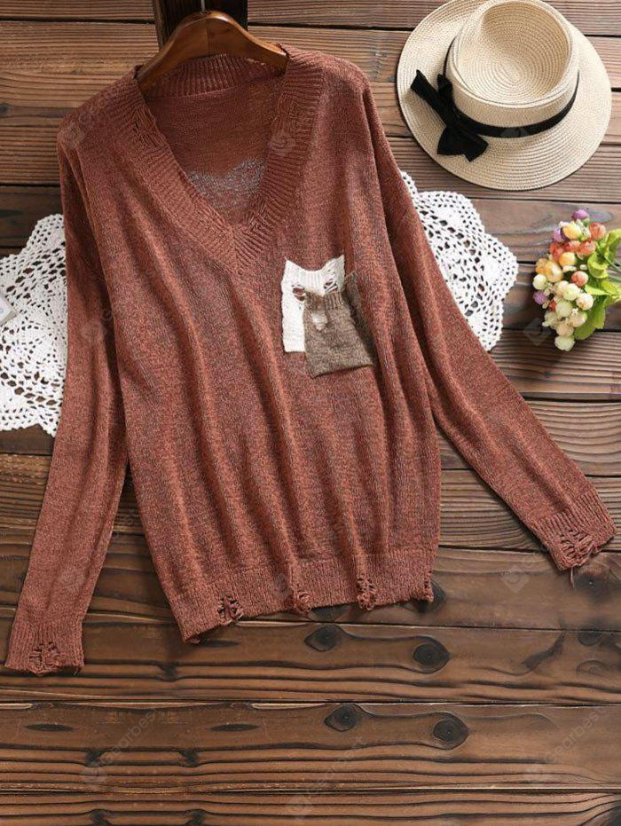 BRICK-RED V Neck Ripped Pocket Knit Top
