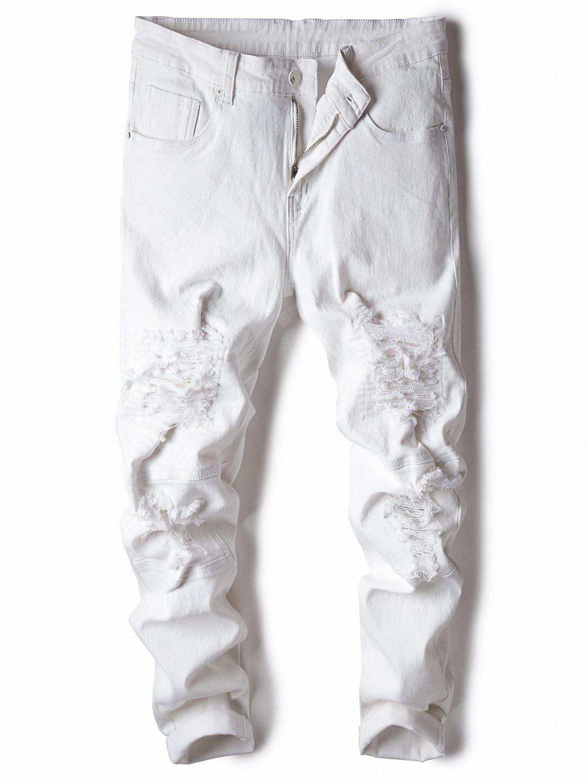 Classical Zipper Fly Straight Leg Ripped Jeans