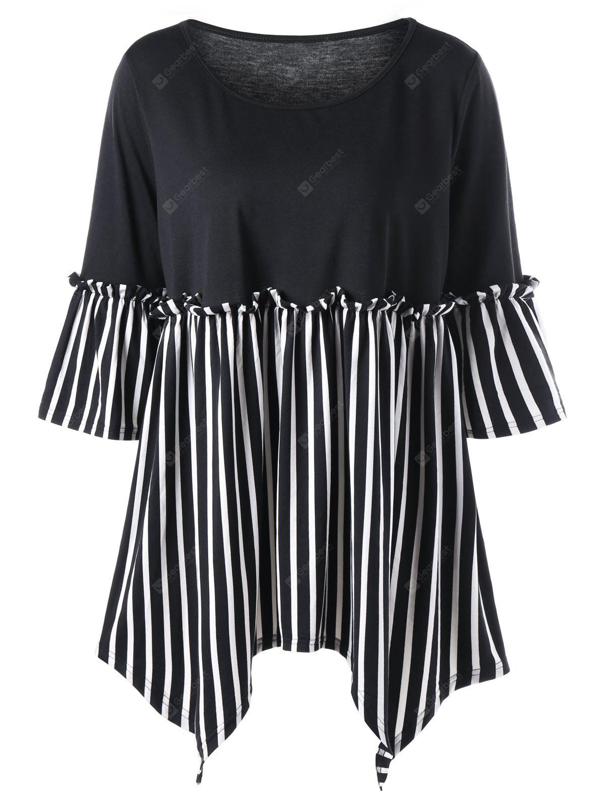 Top Size Frill Striped Handkerchief Top Size