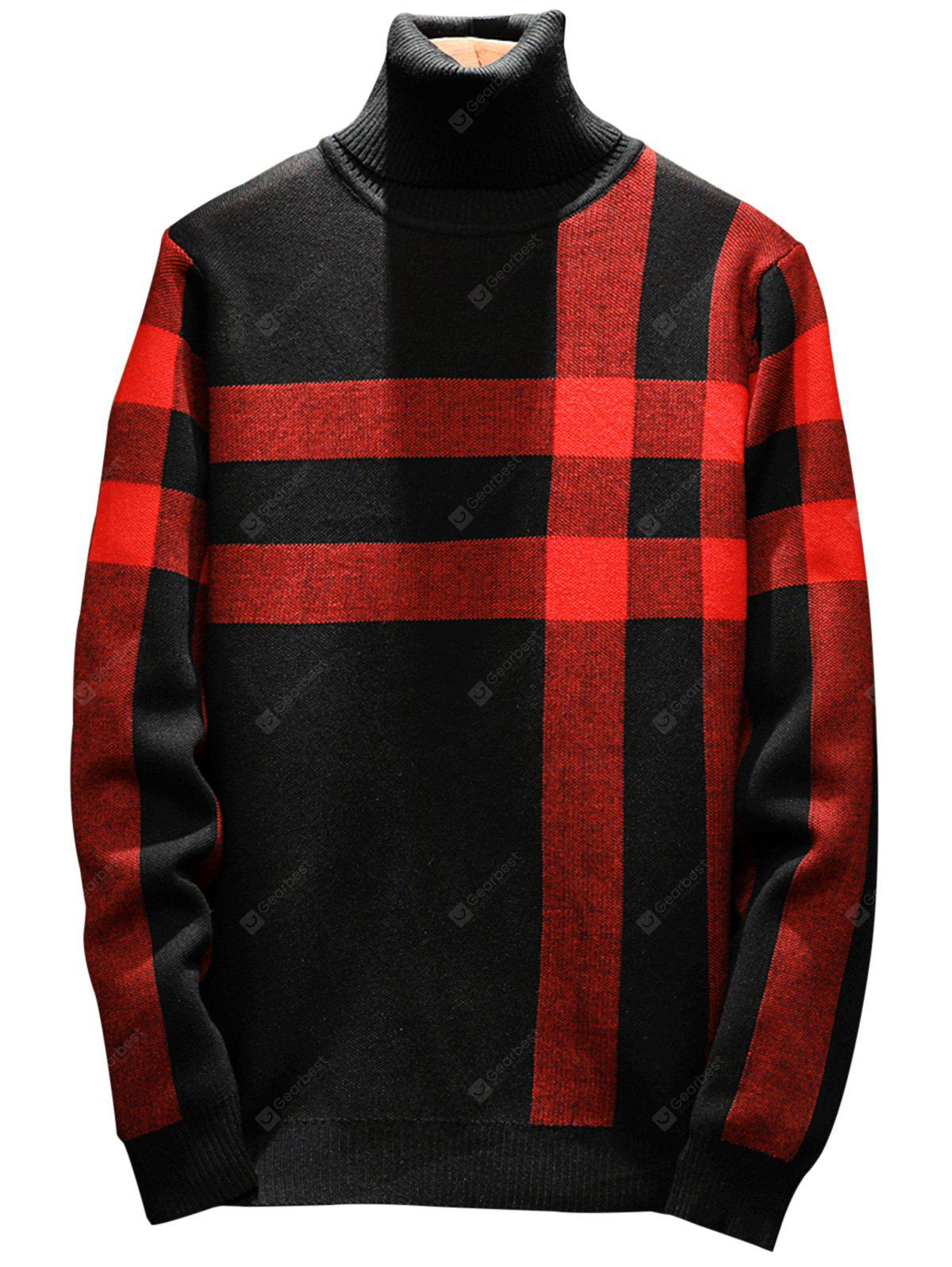 Turtle Neck Tartan Pullover Sweater