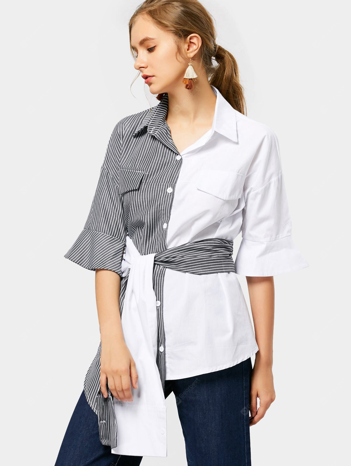 STRIPE XL Contrast Asymmetrical Striped Belted Shirt