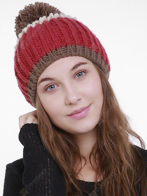 Outdoor Color Block Pom Pom Knitting Beanie