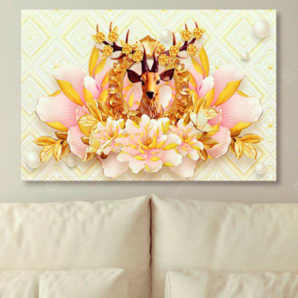 Flower Elk Print Unframed Canvas Wall Art Painting - $21.77 Free ...