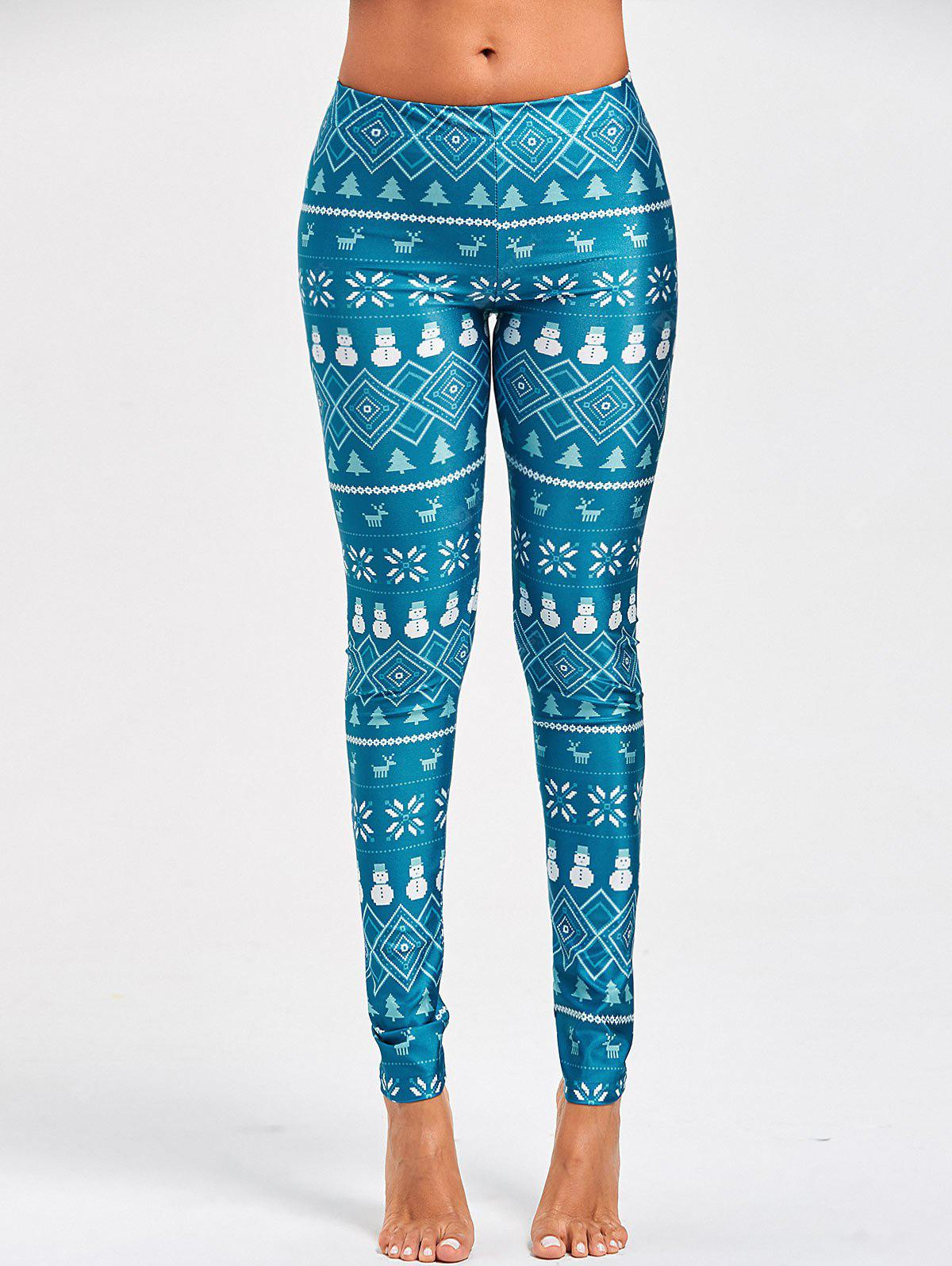 Christmas Snowman Elk Print Leggings