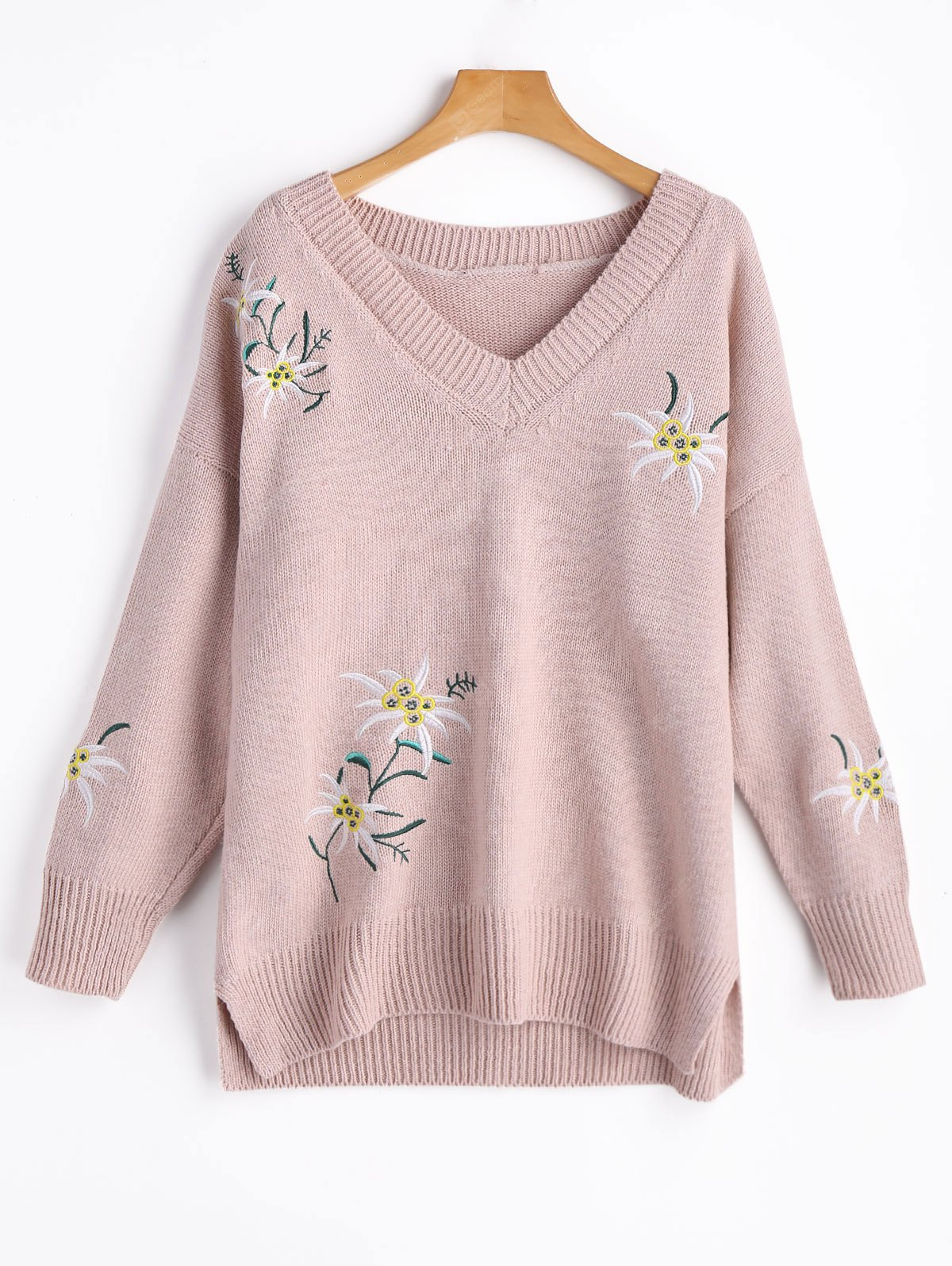 Floral Embroidered Slit Sweater