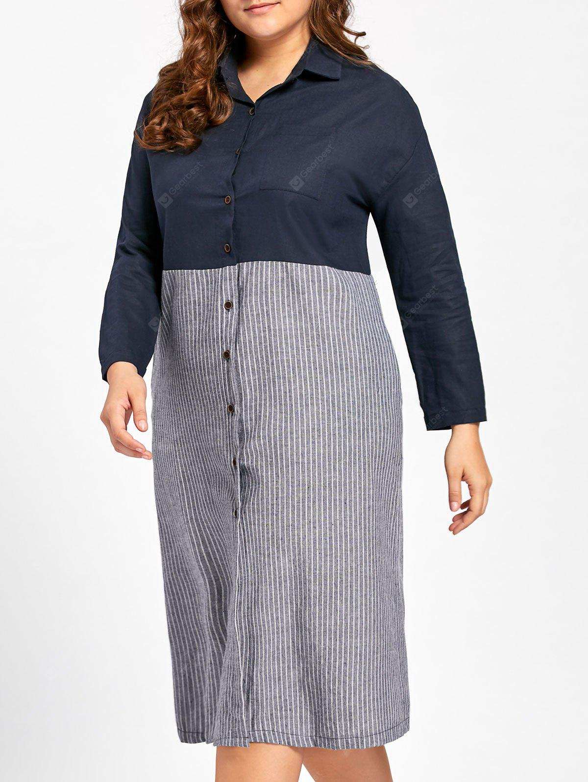 Plus Size Button Up Longline Striped Shirt