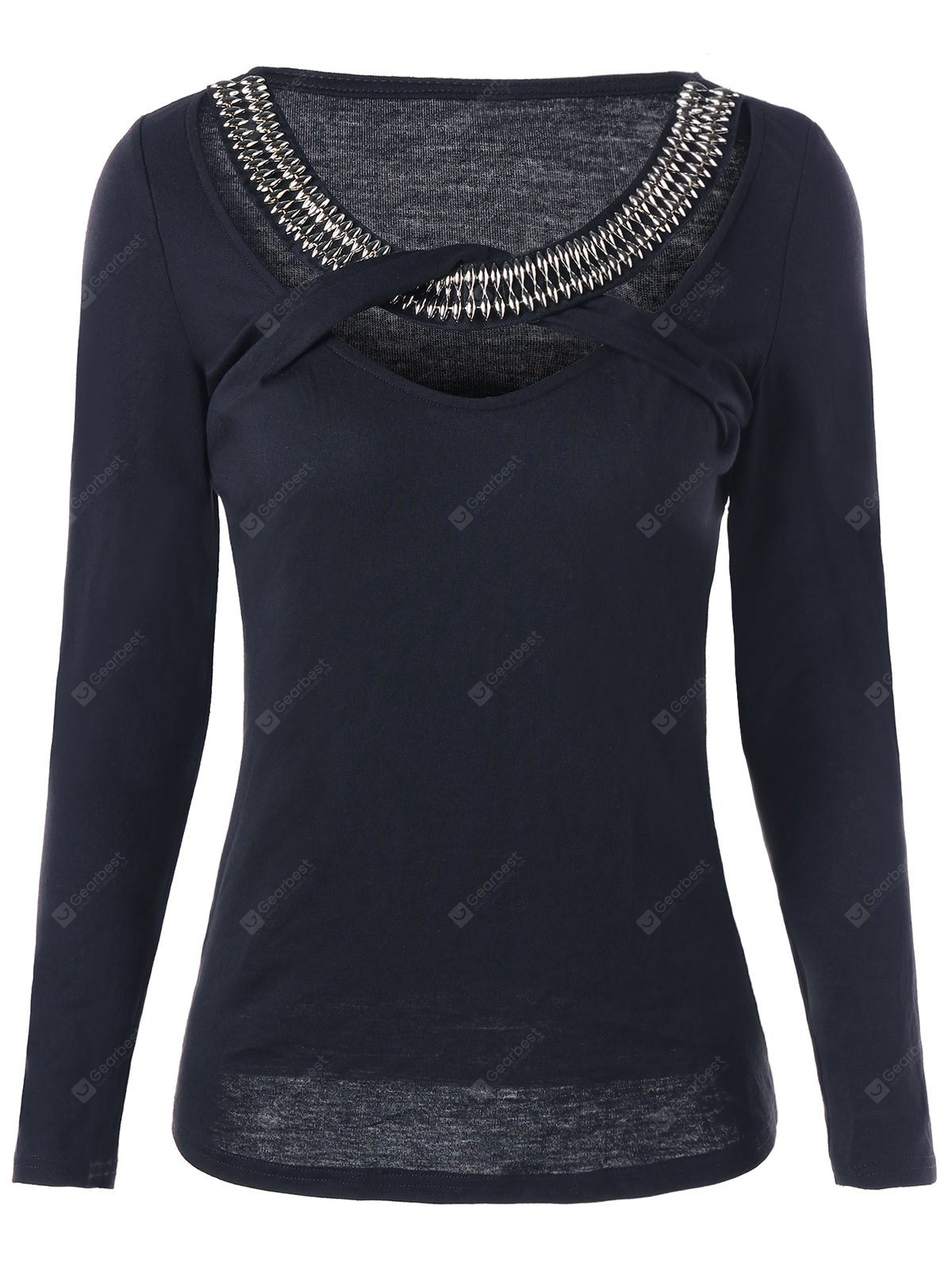 BLACK 2XL Beaded Embellished Criss Cross Cut Out Top