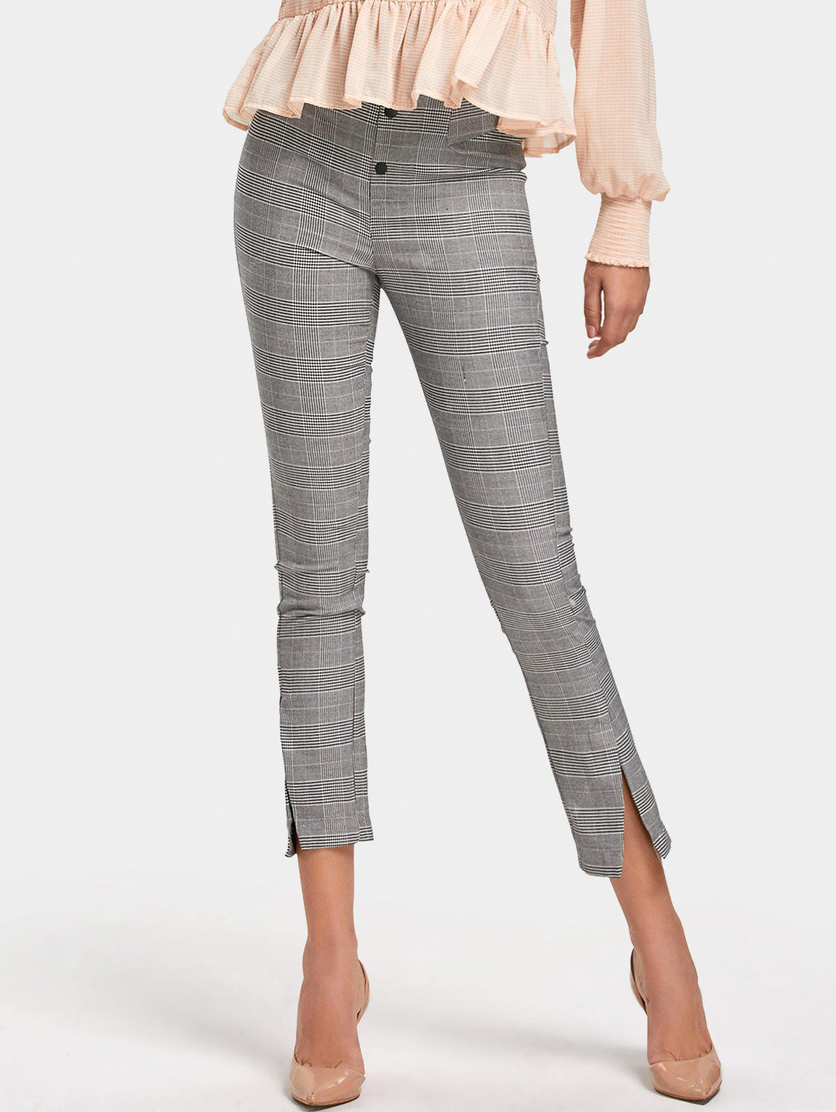 Checked High Waisted Slit Pencil Pants