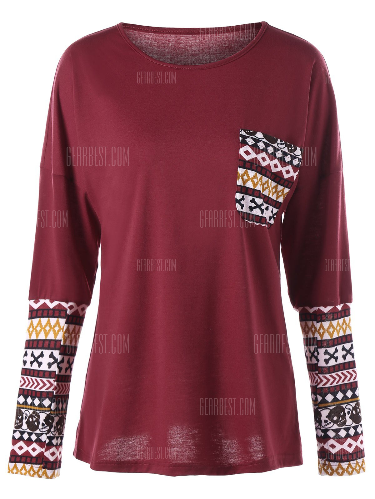 DEEP RED 2XL Skull Halloween Pocket Long Sleeve Top