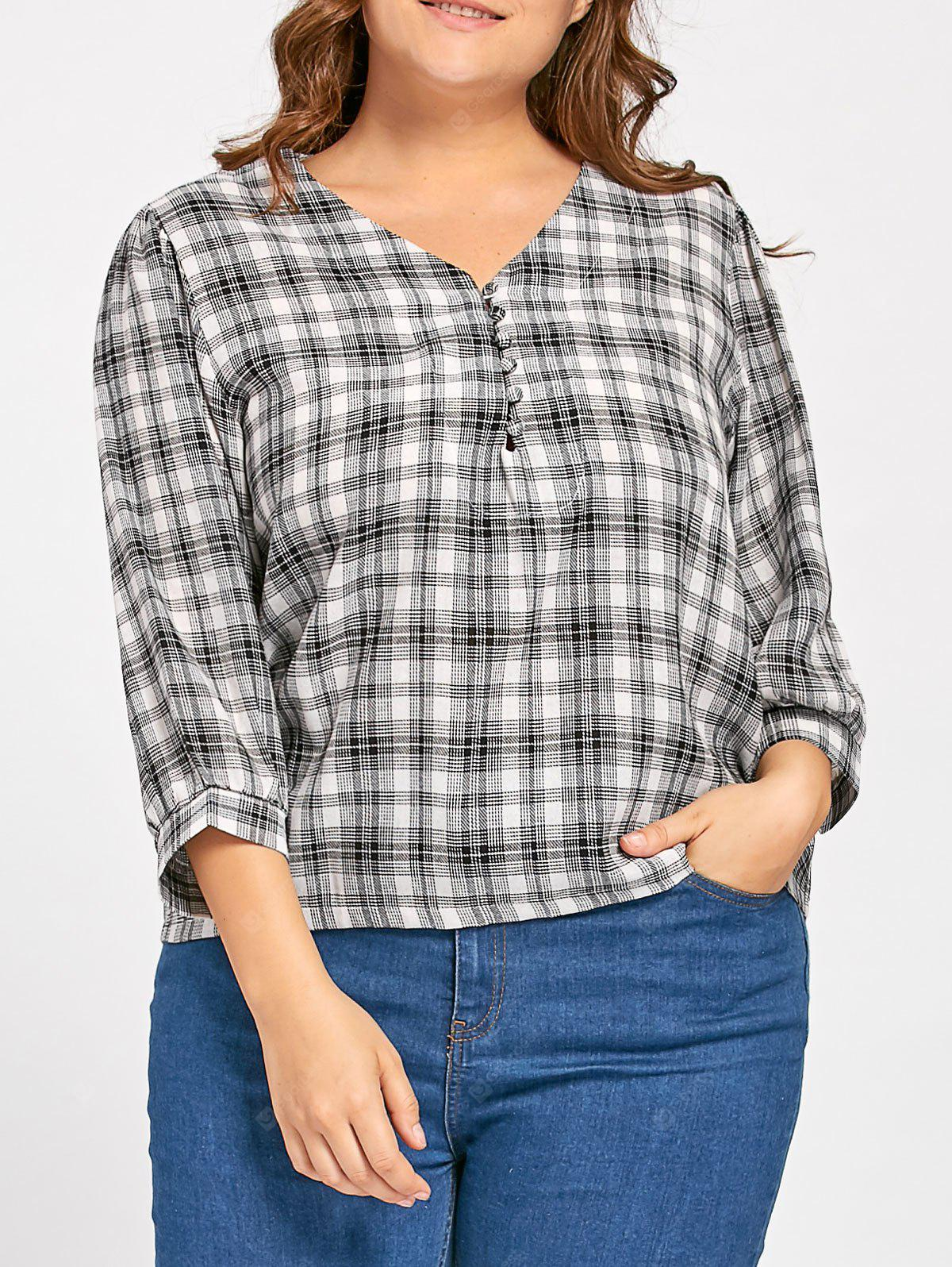 Plus Size Linen V Neck Plaid Blouse