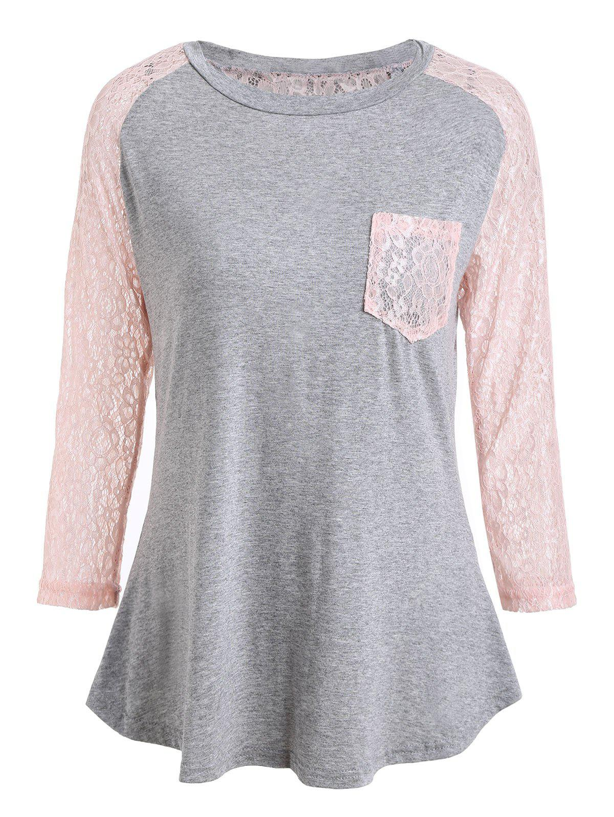 Lace Insert Raglan Sleeve T-shirt with Pocket