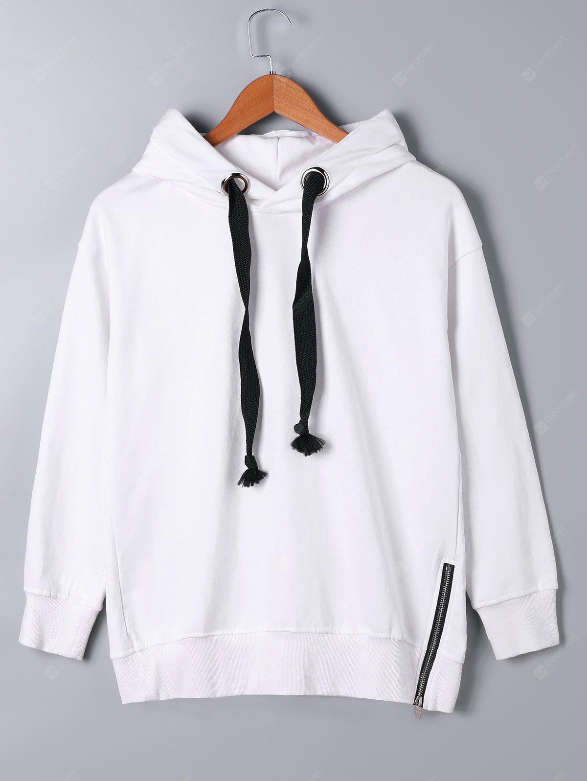 Drawstring Neck Zipper Decorated Hoodie