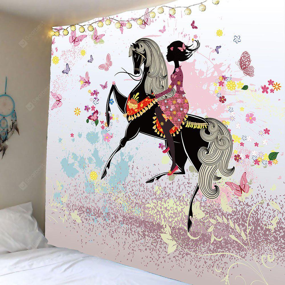 Ride Butterfly Girl Pattern Wall Hanging Tapestry