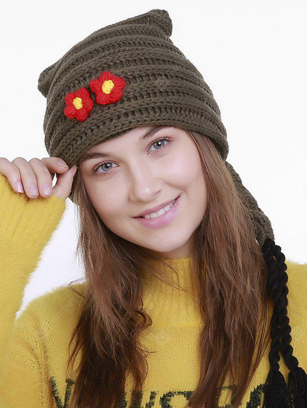 Small Flower Knit Christmas Hat with Long Tail