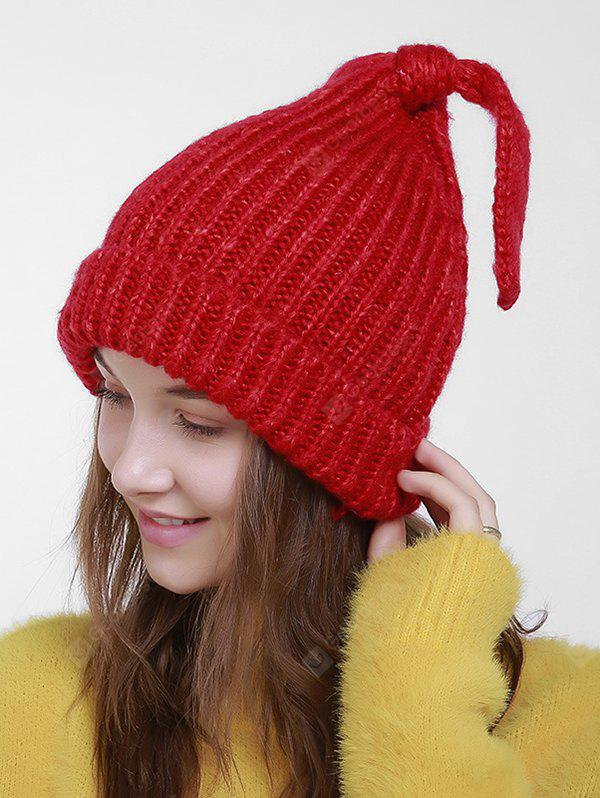 Knit Flanging Christmas Hat with Tail