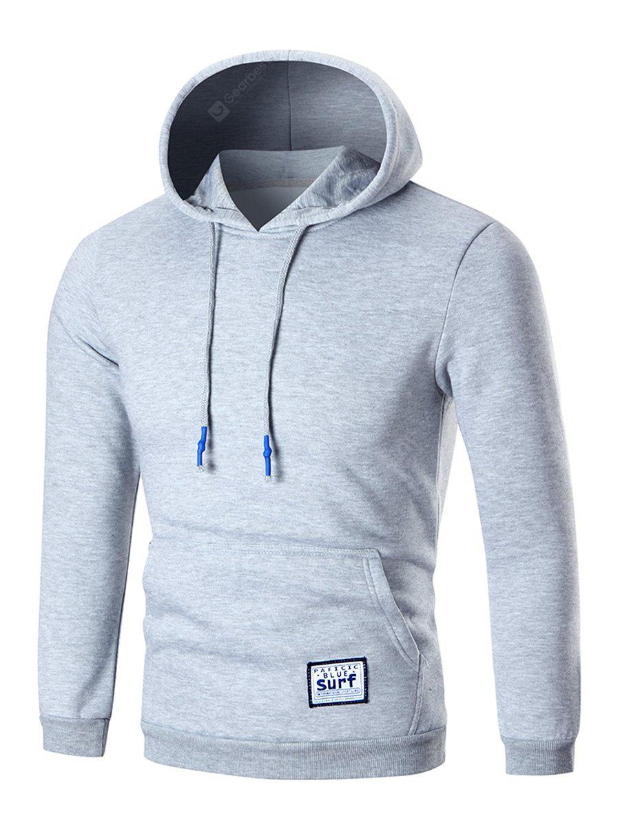 Pocket Patched Fleece Pullover Hoodie