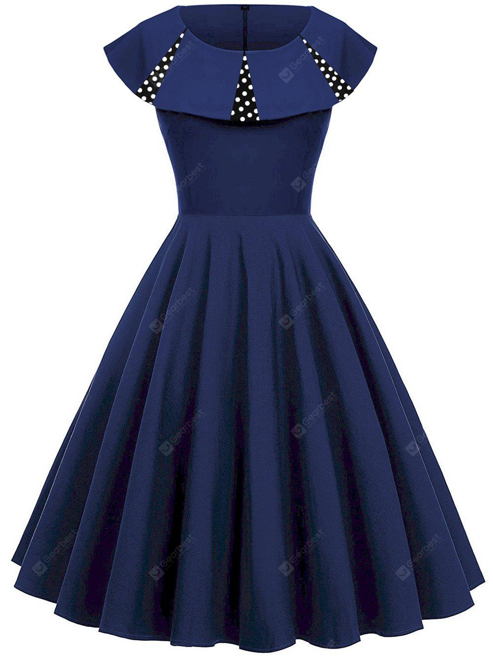 Polka Dot Panel Vintage Fit e Flare Dress