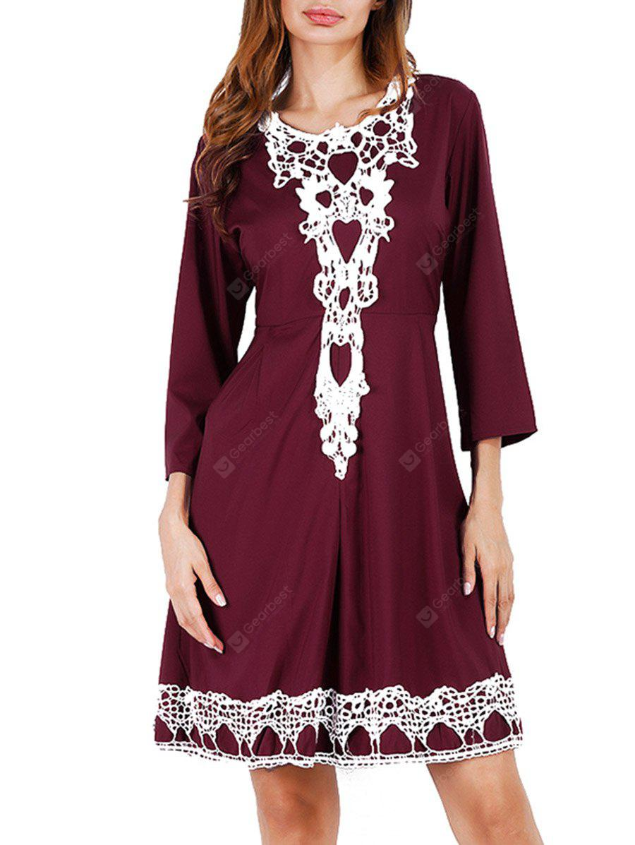 Lace Insert Mini Swing Dress