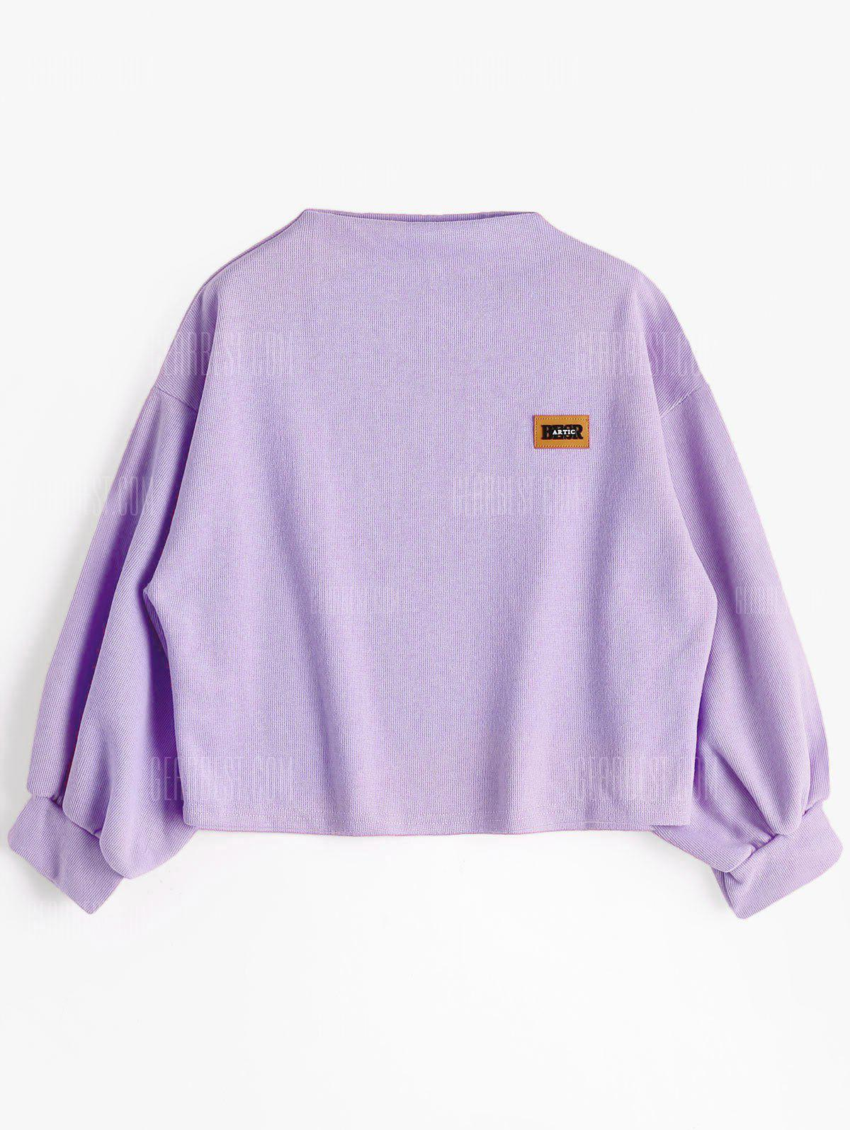 Lantern Sleeve Badge Patched Sweatshirt