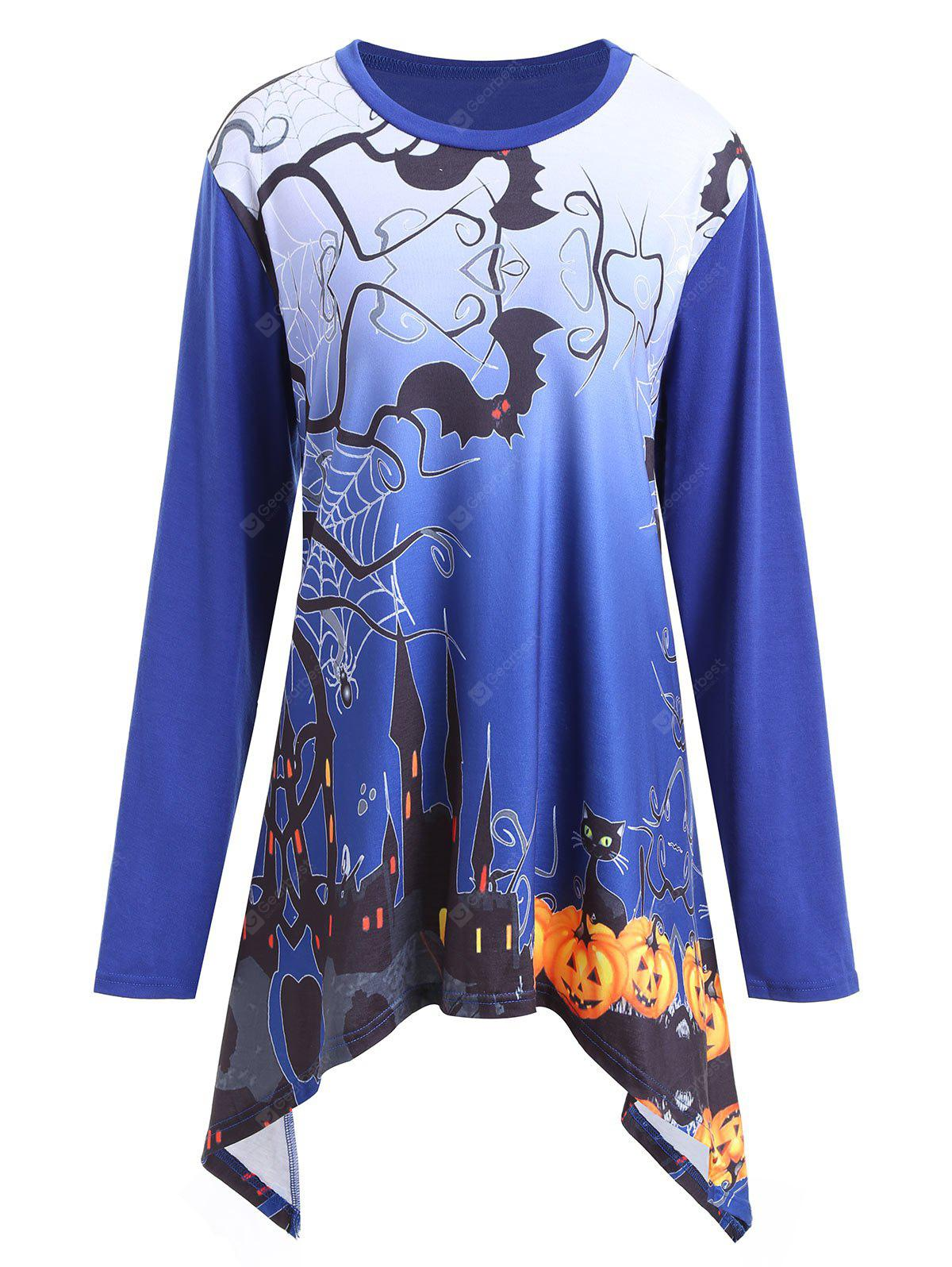 Plus Size Halloween Pumpkin Castle Asymmetrical T-shirt