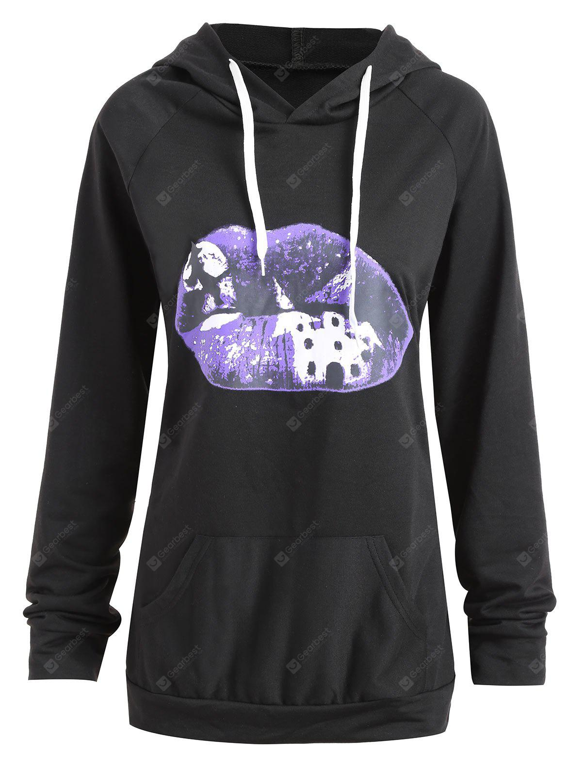 Plus Size Halloween Lip Moon Print Hoodie