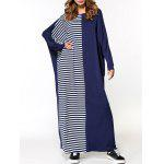 Oversized Striped Panel Maxi Dress - AZUL PURPúREO