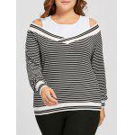Plus Size Striped Cold Shoulder Long Sleeve Tee - WHITE AND BLACK