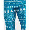 Christmas Snowman Elk Print Leggings - LIGHT BLUE