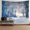Wall Hanging Decor Forest Snow Path Print Tapestry - WHITE