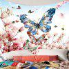Peach Blossom Butterfly Pattern Wall Hanging Tapestry - COLORFUL