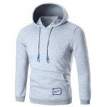 Pocket Patched Fleece Pullover Hoodie - GRAY