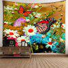 Flowers Butterfly Pattern Waterproof Wall Hanging Tapestry - COLORFUL