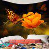 Flower Butterfly Printed Wall Hanging Tapestry - COLORFUL